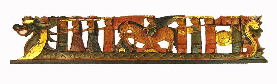 pannelli in legno intarsiato : ... Indonesia: pannello decorativo in legno intagliato e dipinto a mano